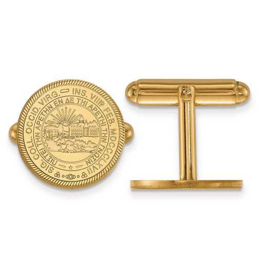 4Y052WVU: 14ky LogoArt West Virginia University Crest Cuff Link