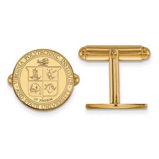 4Y065VTE: 14ky LogoArt Virginia Tech Crest Cuff Link