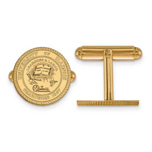 4Y067UIL: 14ky LogoArt University of Illinois Crest Cuff Link
