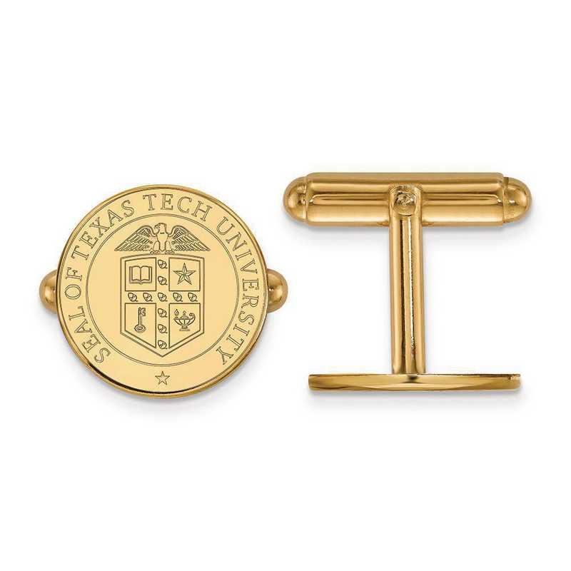 4Y073TXT: 14ky LogoArt Texas Tech University Crest Cuff Link