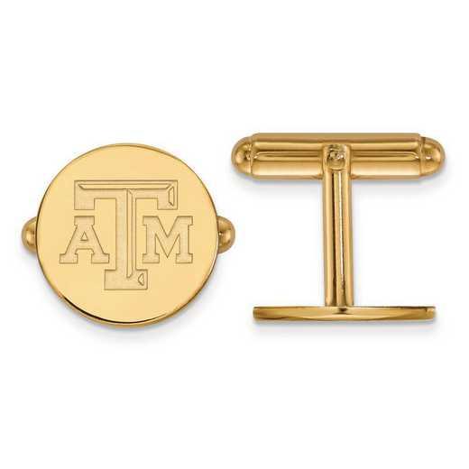4Y076TAM: 14ky LogoArt Texas A&M University Cuff Links