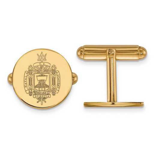 GP038USN: Sterling Silver w/GP LogoArt Navy Crest Cuff Link