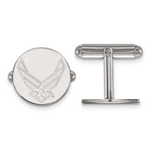SS009USAF: Sterling Silver Rh-pl Logo Art U.S. Air Force Cuff Link