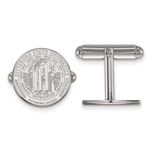 SS018PSK: SS LogoArt Pittsburg State University Crest Cuff Link