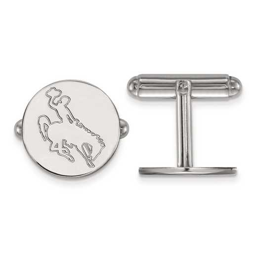 SS022UWY: SS LogoArt The University of Wyoming Disc Cuff Link