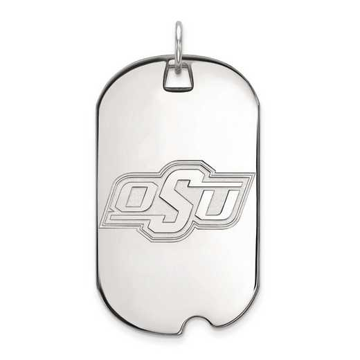 1W027OKS: 10kw LogoArt Oklahoma State University Large Dog Tag