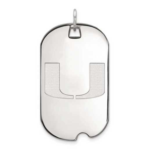 1W028UMF: 10kw LogoArt University of Miami Large Dog Tag