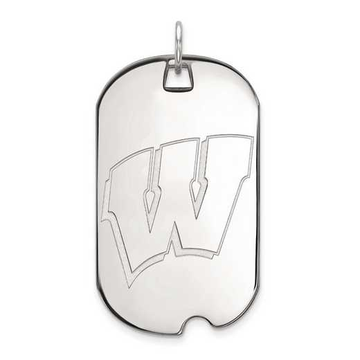 4W028UWI: 14kw LogoArt University of Wisconsin Large Dog Tag