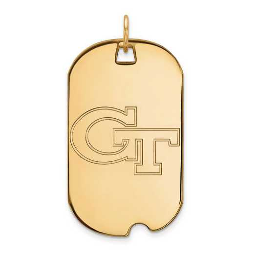 4Y022GT: 14ky LogoArt Georgia Institute of Technology Large Dog Tag