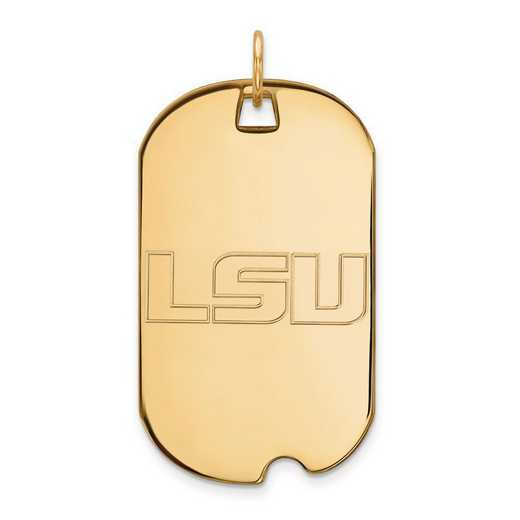 4Y022LSU: 14ky LogoArt Louisiana State University Large Dog Tag