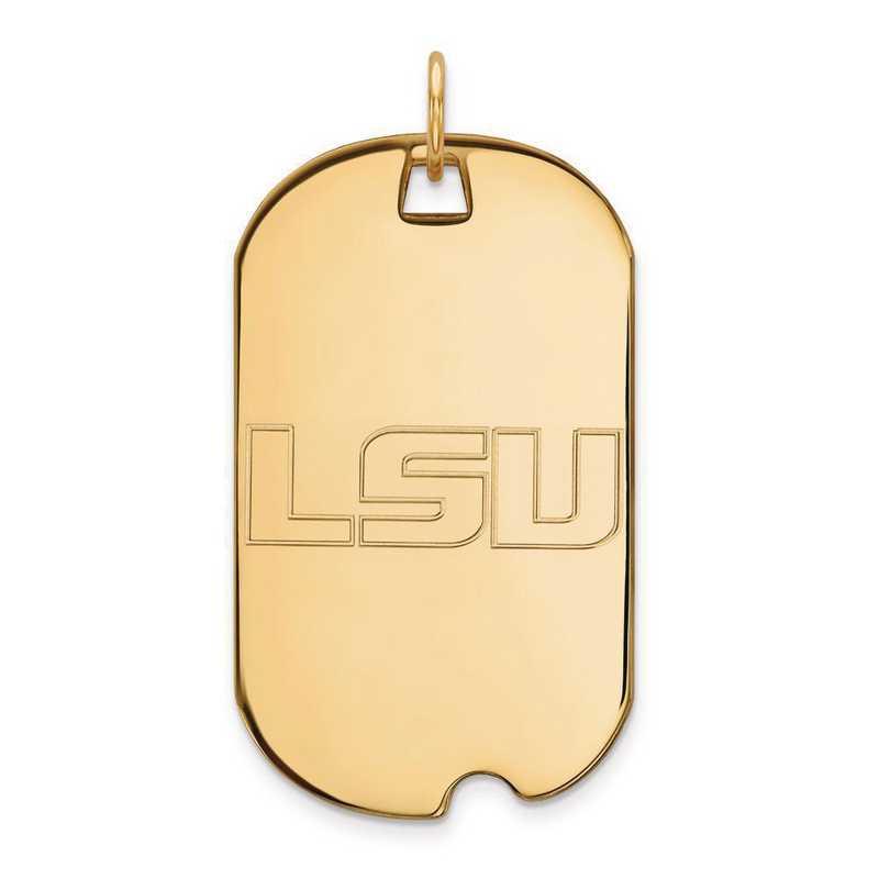 4Y022LSU: 14ky LogoArt Louisiana State University Large Dog Tag