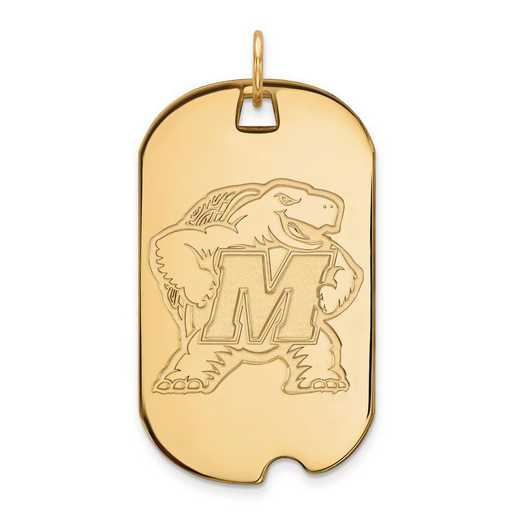 4Y023UMD: 14ky LogoArt Maryland Large Dog Tag