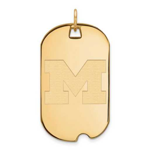 4Y027UM: 14ky LogoArt Michigan (Univ Of) Large Dog Tag