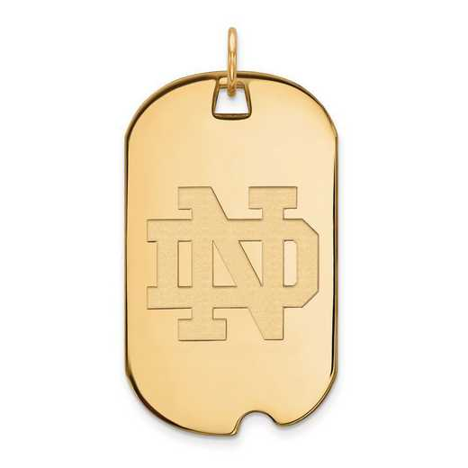 4Y027UND: 14ky LogoArt University of Notre Dame Large Dog Tag Pendant