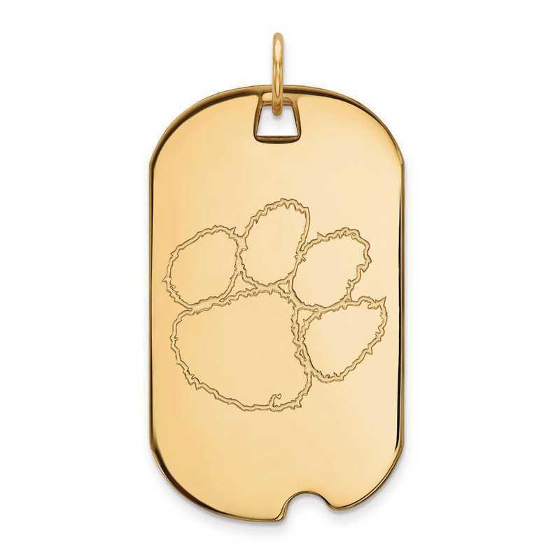 4Y028CU: 14ky LogoArt Clemson University Large Dog Tag