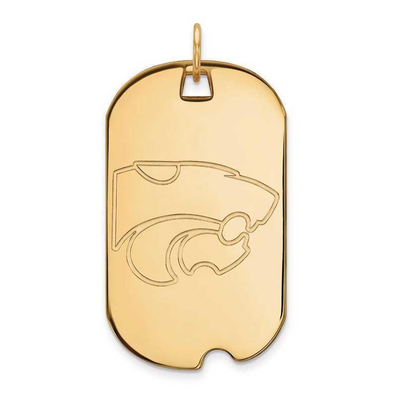 4Y028KSU: 14ky LogoArt Kansas State University Large Dog Tag