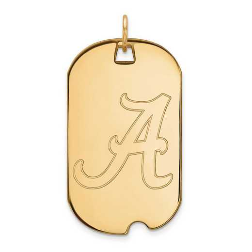 4Y028UAL: 14ky LogoArt University of Alabama Large Dog Tag