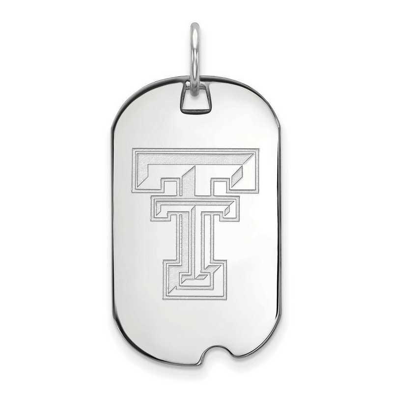 Sterling Silver Texas Tech University Small Dog Tag by LogoArt