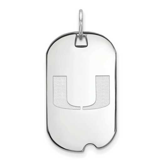 SS027UMF: SS LogoArt University of Miami Small Dog Tag