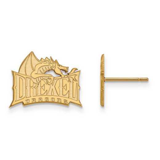 1Y004DRE: 10ky LogoArt Drexel University Small Post Earrings
