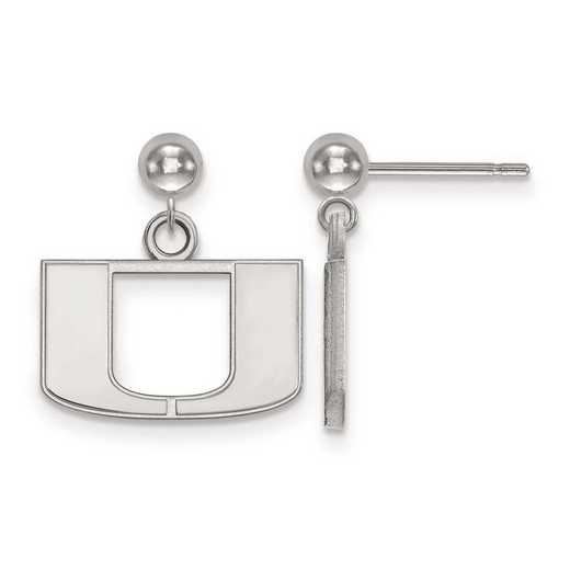 4W010UMF: 14kw LogoArt University of Miami Earrings Dangle Ball