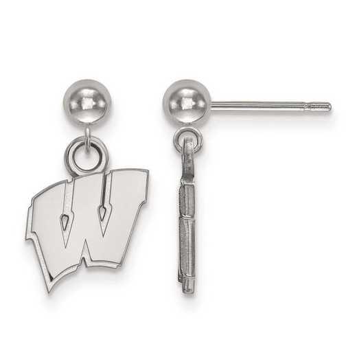 4W010UWI: 14kw LogoArt University of Wisconsin Earrings Dangle Ball