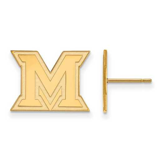 4Y008MU: 14ky LogoArt Miami University Small Post Earrings