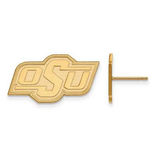 4Y008OKS: 14ky LogoArt Oklahoma State University Small Post Earrings
