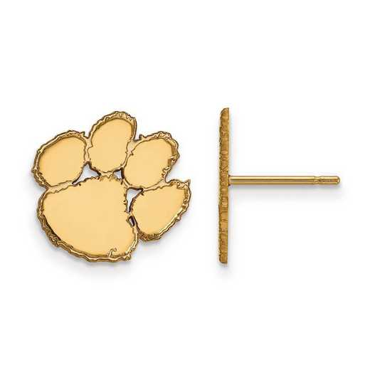 4Y009CU: 14ky LogoArt Clemson University Small Post Earrings