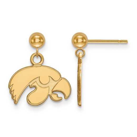 4Y010UIA: 14ky LogoArt University of Iowa Earrings Dangle Ball