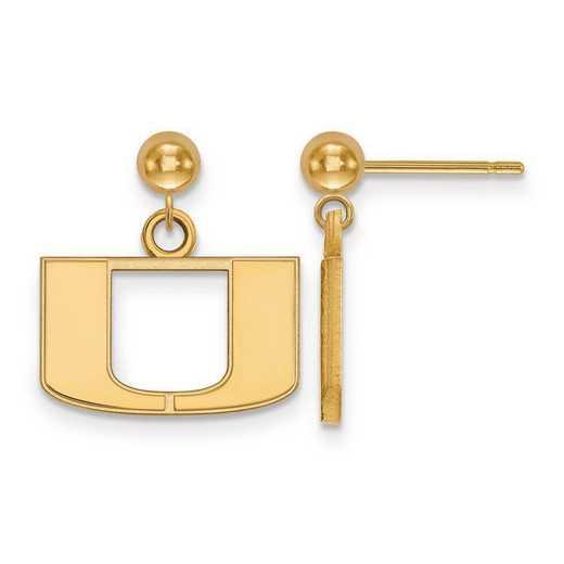 4Y010UMF: 14ky LogoArt University of Miami Earrings Dangle Ball