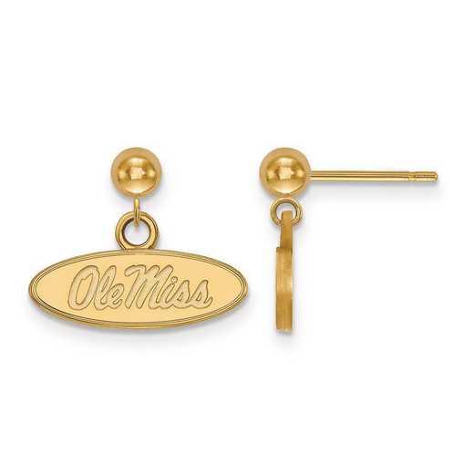 4Y010UMS: 14ky LogoArt University of Mississippi Earrings Dangle Ball