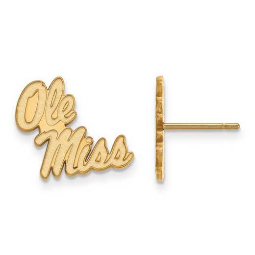 4Y050UMS: 14ky LogoArt University of Mississippi Small Post Earrings