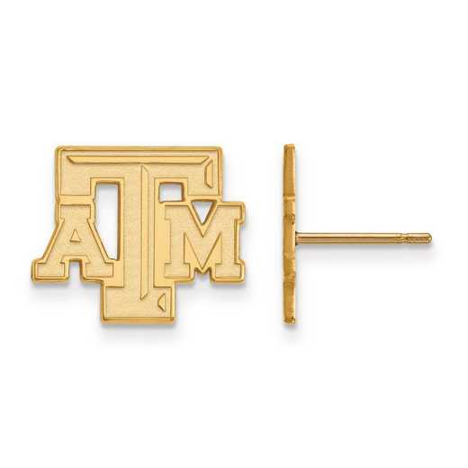 4Y070TAM: 14ky LogoArt Texas A&M University Small Post Earrings
