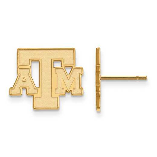 4Y075TAM: 14ky LogoArt Texas A&M University Small Post Earrings