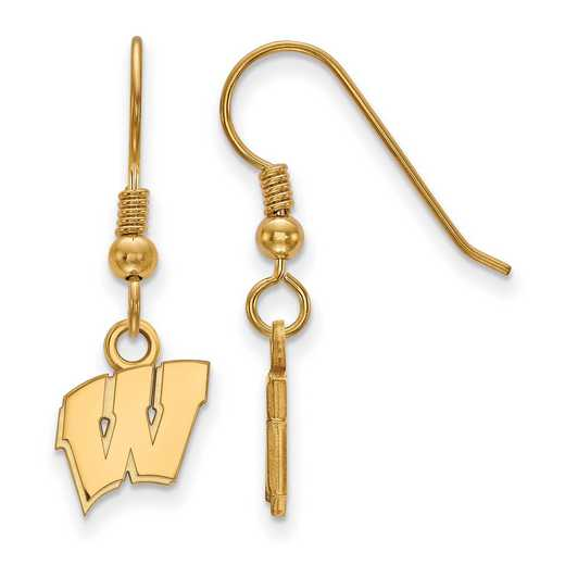GP006UWI: SS YGFP LogoArt Wisconsin XS Dangle Earrings - Yellow