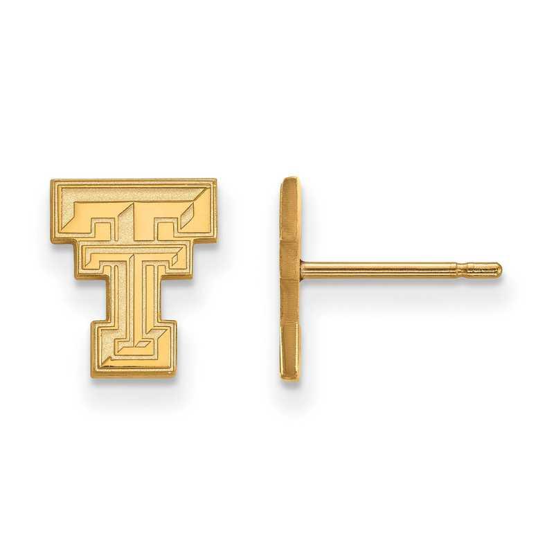 GP008TXT: 925 YGFP Texas Tech XS Post Earrings