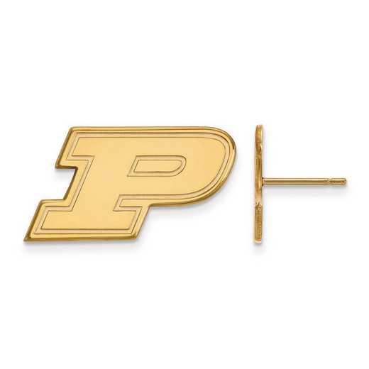 GP009PU: Sterling Silver w/GP LogoArt Purdue Small Post Earrings