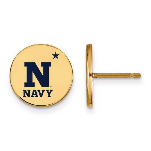 GP017USN: Sterling Silver w/GP LogoArt Navy Small Enamel Disc Earrings
