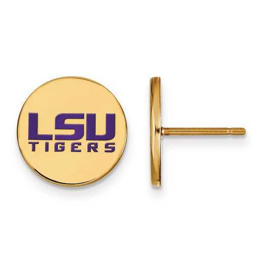 GP060LSU: SS GP LogoArt Louisiana State Univ Sm Enamel Disc Earrings