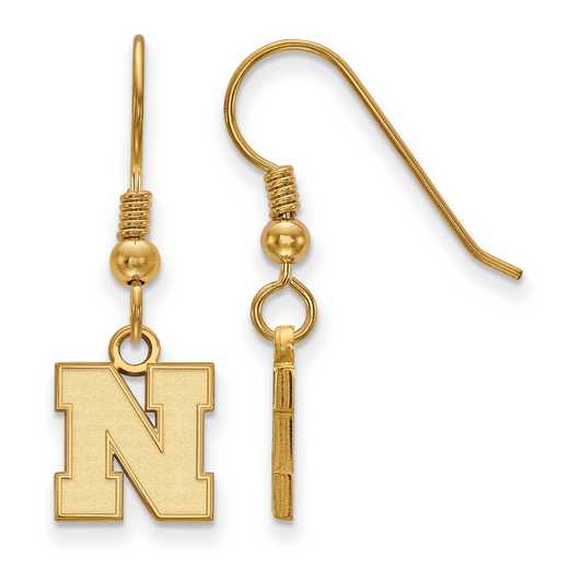 GP082UNE: SS YGFP LogoArt Nebraska XS Dangle Earrings - Yellow