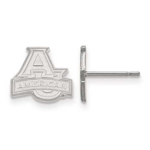 SS001AMU: SS Rh-pl LogoArt American University XS Post Earrings
