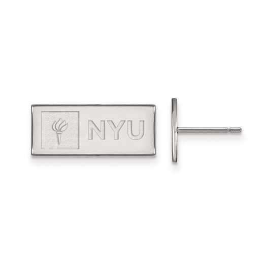 SS002NYU: SS Rh-pl Logo Art New York University XS Post Earrings