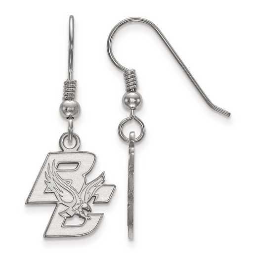 SS003BOC: SS Rh-pl LogoArt Boston College Small Dangle Earrings