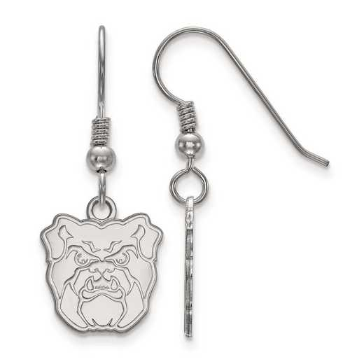 SS003BUT: SS Rh-pl LogoArt Butler University Small Dangle Earrings