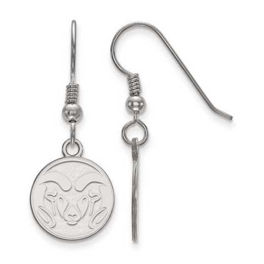 SS003COS: SS Rh-pl LogoArt Colorado State Univ Small Dangle Earrings