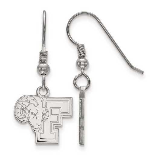 SS003FOU: SS Rh-pl LogoArt Fordham University Small Dangle Earrings