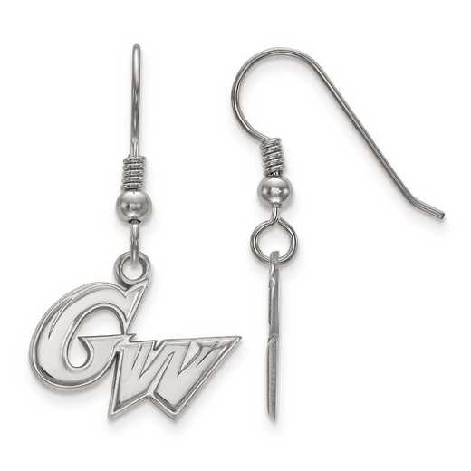 SS003GWU: SS Rh-pl LogoArt The George Washington U Small Dangle Earr