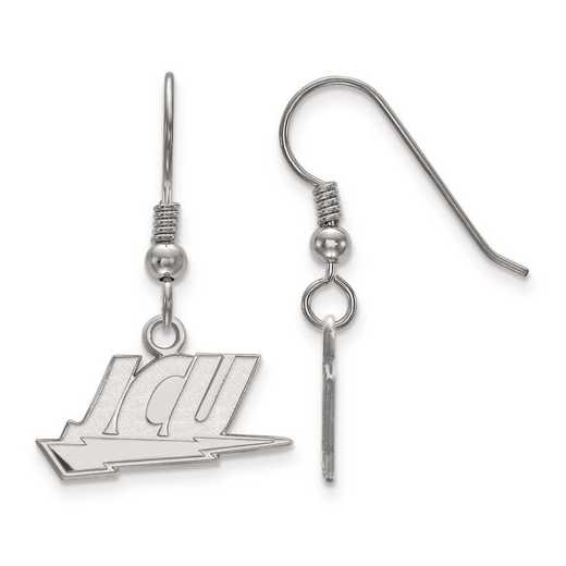SS003JCU: SS Rh-pl LogoArt John Carroll Univ Small Dangle Earrings