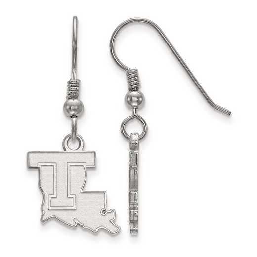 SS003LTU: SS Rh-pl LogoArt Louisiana Tech Univ Small Dangle Earrings